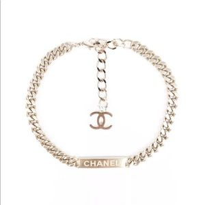 CHANEL Curb Chain Logo Choker Necklace